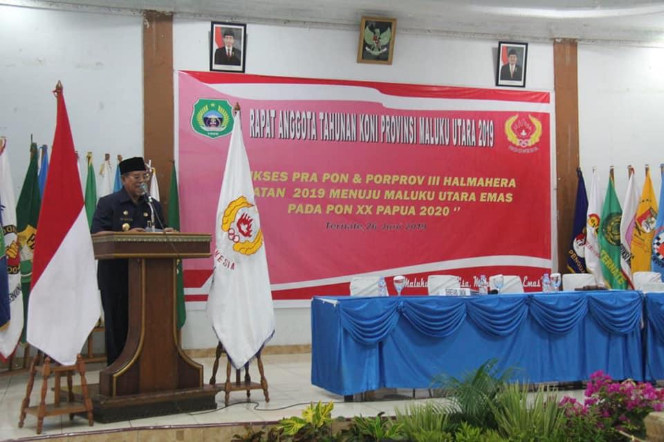 Gubernur Buka Rapat Anggota Tahunan KONI Maluku Utara Tahun 2019